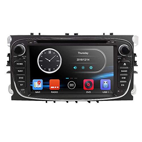 LYHY Reproductor Multimedia para Coche Doble 2 DIN 17,8 cm Reproductor de DVD para Coche GPS Navi Unidad Principal Cámara Bluetooth para Ford Mondeo Focus S-MAX