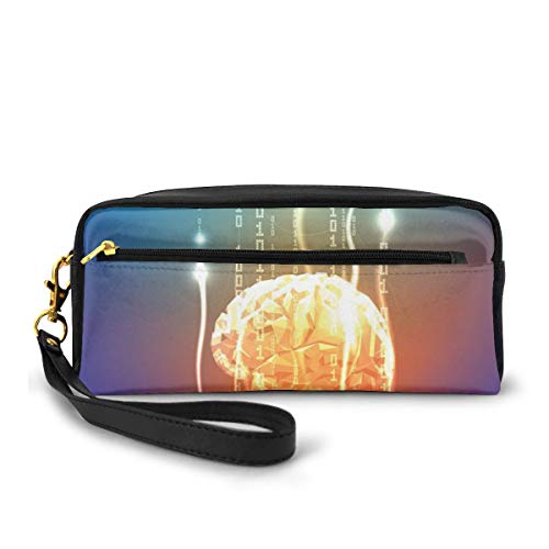Pencil Case Pen Bag Pouch Stationary,Stream of Binary Digits Leaking from Abstract Brain Mental Creativity Theme Print,Small Makeup Bag Coin Purse
