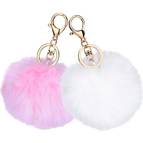 2 Stück Pom Pom Schlüsselanhänger Flauschige Schlüsselanhänger Handy Charm Schlüsselanhänger Bälle Tasche Anhänger Schlüsselanhänger (Weiß und Rosa)
