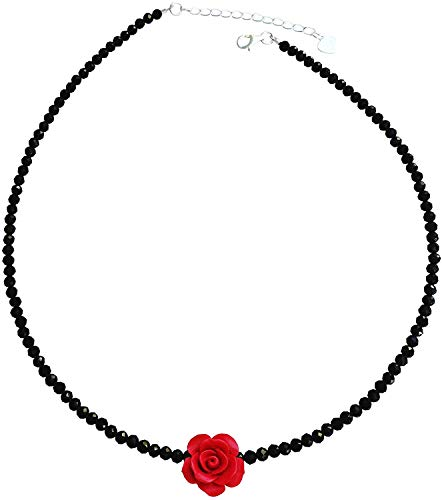 Tisi Sterling Silver Black Spinel Beads Charm Chokers Series (Black)