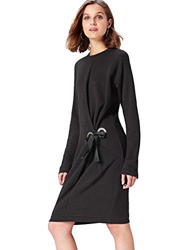 Amazon-Marke: find. Kleid Damen asymmetrisches Design und Oversize-Passform, Schwarz, 34, Label: XS