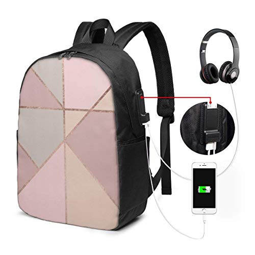 Lawenp Pink Geometric Modern Rose Gold Peach Tan Blush Color Block Coral Travel Laptop Backpack,Business Anti Theft Slim Durable with USB Charging Port, College School Computer Bag Bookbag Casual Hi