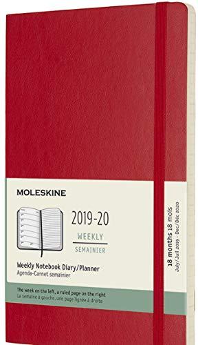 Moleskine Agenda 18 Mesi Settimanale, Diario Accademico 2019/2020 con Copertina Morbida e Chiusura ad Elastico, Rosso Scarlatto, Dimensione Large 13 x 21 cm, 208 Pagine