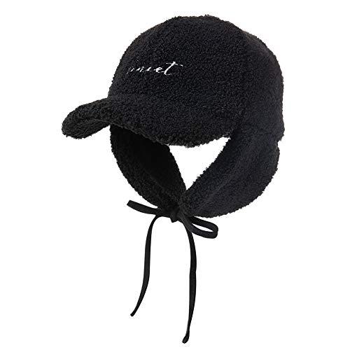 Kids Boys Girls Aviator Hat Leather Pilot Cap Winter Trooper Trapper Bomber Ushanka Black 5y-10y