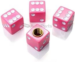 smallAutoParts Pink Dice Valve Caps - Set of 4