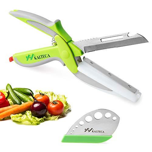KALTECA Clever Cutter Kitchen Scissors Bundle With Herb Stripper – Smart Cutter 6 in 1 Cutting Board Knife, Lettuce Cutter, Chopping Scissors, Quick Vegetable Cutter, Food Chopper Vegetable Scissors