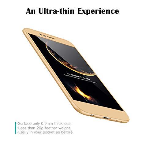 FMPC Hülle Kompatibel mit Huawei Nova 2 Plus, 3 in 1 PC Schale Full-Cover Anti-Kratzer 360° Ultra dünn Rundumschutz-Schale mit Gratis 3D Panzerglas Handyhülle Schutzhülle Case-Gold - 3