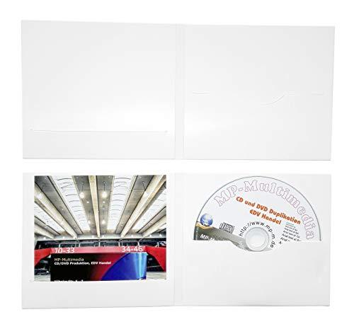50 Digifile CD Hüllen aus Karton, CD Papphüllen weiß glänzend mit Schlitz für 1 CD/DVD/Blu-ray und Booklet/Cover Einleger, Made in Germany