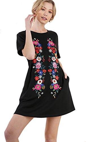 Umgee Boho Fall/Winter Please! Embroidered French Terry Cover up by Day Dress by Night (Black, Large)