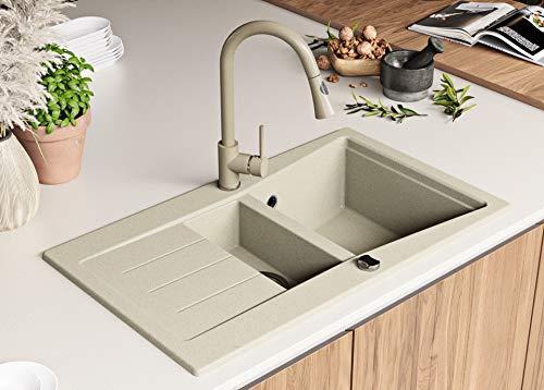 Granitspüle mit Siphon Madrid Einbauspüle Spülbecken Beige Küchenspüle Unterschrank Küche ab 60cm Spüle aus Granit mit Ablaufgarnitur Drehexcenter und Überlauf von Primagran