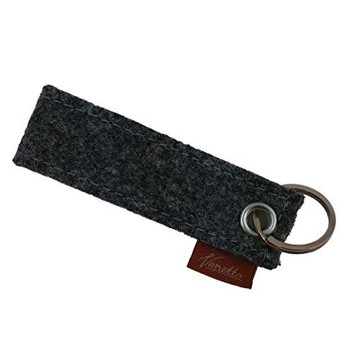 Schlüsselanhänger Schlüsselband Band aus Filz Ring Schlüsselring Anhänger für Schlüssel (Grau)