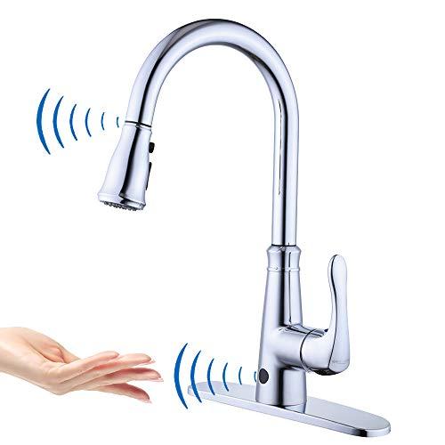 Geoaton Küchenarmatur, berührungslos, zwei Sensoren, automatischer Sensor, Küchenspüle, Mischbatterie mit herausziehbarer Brause, Einhebelmischer, schwenkbarer Auslauf, silber