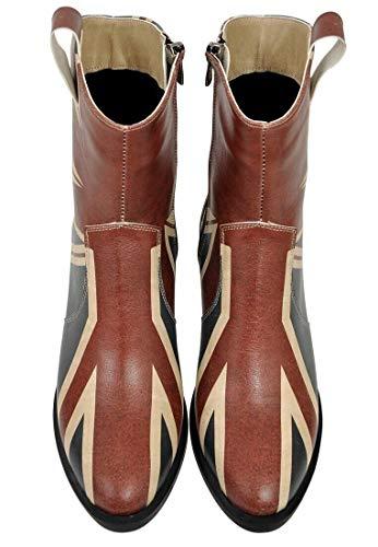 DOGO West Boot Cowgirl-Stiefel, vegan, bedruckt, atmungsaktiv, schick, modisch, seitlicher Reißverschluss, wadenhoch, Mehrfarbig (Union Jack Design), 40 EU