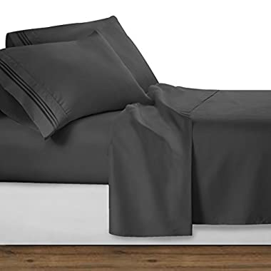 Clara Clark Bed Sheet Set - Brushed Microfiber Premier Collection 1800 Series 4 Piece Bed Set - Wrinkle & Fade Resistant, Hypoallergenic, Queen, Charcoal Gray