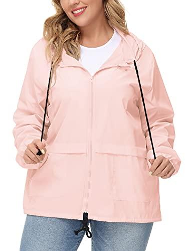 Plus Packable Rain Jacket Women Waterproof Windbreaker Light Travel Rain Coat Rainwear Pink 4XL