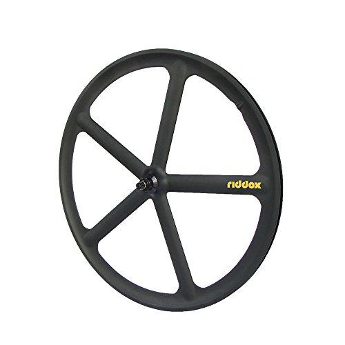 RIDDOX Berlin Laufradsatz Singlespeed Fixie 700C/28 Vorderrad – 5 Speichen - Leichtmetall - Schwarz Matt