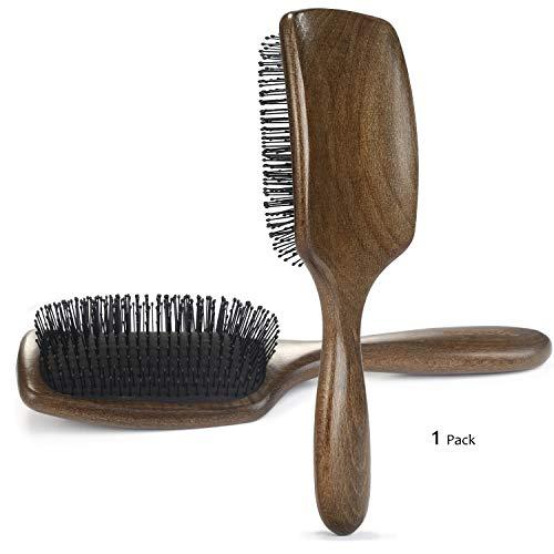 BESTOOL Haarbürste Antistatische Enthaarungsbürste mit ultra weichen, flexiblen Nylonborsten, Gebogene Naturholz Paddelbürste, entwirren Frauen, Männer, Kinder, nasses & trockenes Haar