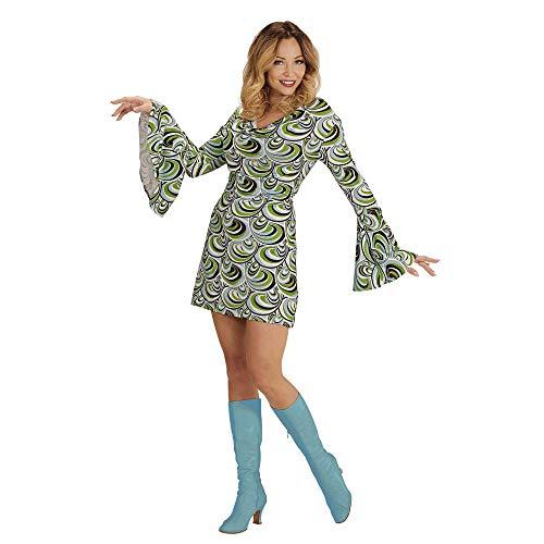 Widmann 08870 Volwassen kostuum 70 Volwassen retrojurk, dames, groen/blauw, XXL