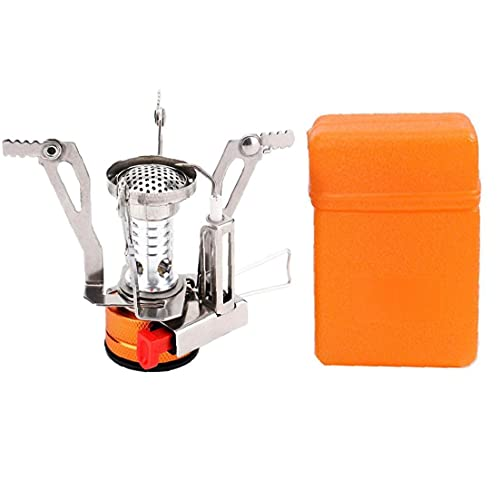 Uayasily Camping Stove Gas Burner with Piezo Ignition Mini Folding Windproof with Carrying Case for Outdoor Cooking
