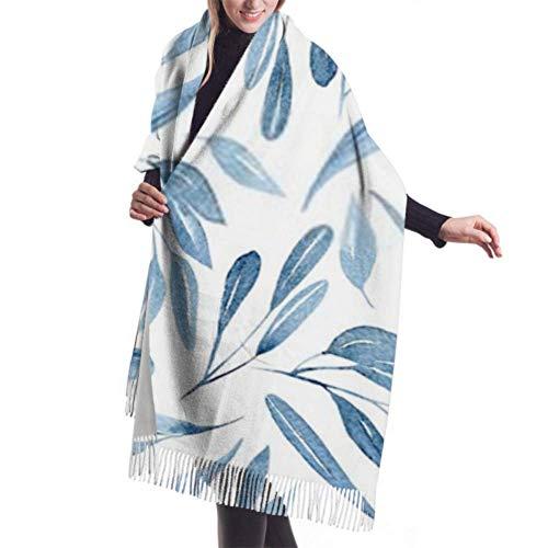 Bufanda con Flecos, Tapiz, Manta, Accesorios de Vestidos, Estampado Floral sin Costuras, Acuarela Azul, Ramas, Bufanda Grande Premium, Bufandas para Mujer