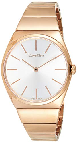 Calvin Klein Damen Analog Quarz Uhr mit Edelstahl Armband K6C2X646