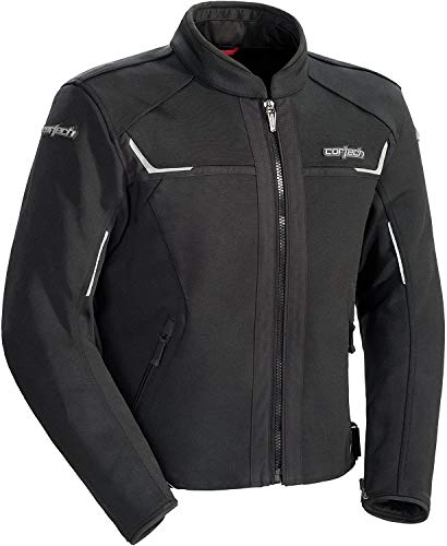 Cortech Mens Fusion Motorcycle Jacket - Vented Waterproof Riding Jacket with Thermal Liner for Spring, Winter and Summer, Black, Large