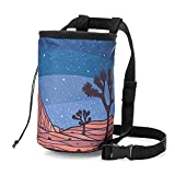 Climbing Chalk Bag for Adults and Kids with Drawstring Closure, Adjustable Quick Clip Waist Belt, Equipment for Indoor/Outdoor Training, Rock Climbing, Bouldering, or Weightlifting (Joshua Tree)