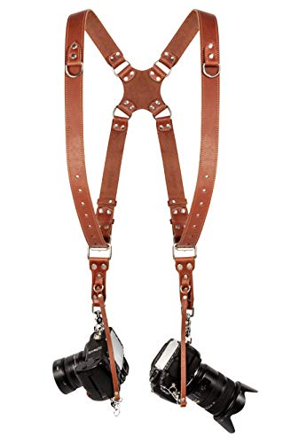 Camera Strap Accessories for Two-Cameras – Dual Shoulder Leather Harness – Multi Camera Gear for DSLR/SLR Light Brown