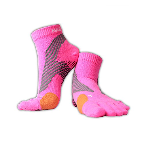 Magic Sport | Merino Wool Blend Non-Slip Toe Socks | Running, Hiking, Cycling | Comfortable, Breathable & Warm | Men & Women (Pink, L-XL)
