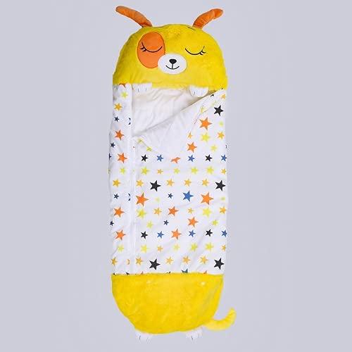 RJfz 2-in-1 niedlicher Kinderschlafsack Cartoon Kinder Anti-Kick-Schlafsackkissen zum Warmhalten einteiliger Outdoor-Schlafsack (Gelber Welpe,160*60cm)