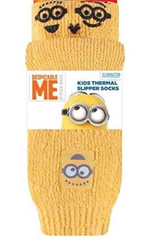 HEAT HOLDERS® - 2 Paar Kinder rutschfeste Socken mit Motiv, Farbe minions, Größe 31-36