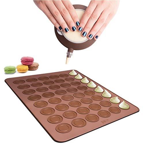 XIUNPR-6 Macaron Backmatten-Set, Backblech aus Silikon mit Einer Kapazität von 48 Stück Antihaft-Kuchen-Backgeschirr-Kit mit Dekorationsstift und 4 Düsen für Macaron, Cupcake, Dessert
