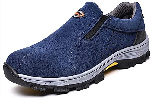 NXDRS Zapatos con Punta de Acero para Hombres, Calzado de Seguridad para el Trabajo a Prueba de pinchazos Calzado Industrial y de construcción (Blue.46)