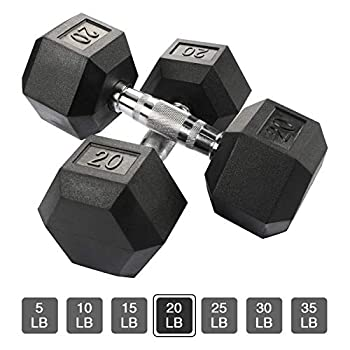 Aimyoo Hex Rubber Dumbbell for Full Body Home Fitness Weight Loss Fitness Dumbbells 20lbs,2PCS