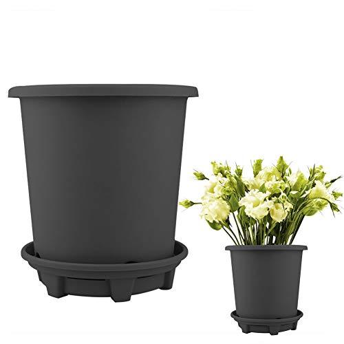 Blanketswarm Lot de 5 pots de fleurs d'intérieur en plastique avec trous de drainage pour plantes grasses, décoration de bureau Noir, 2,3 l.