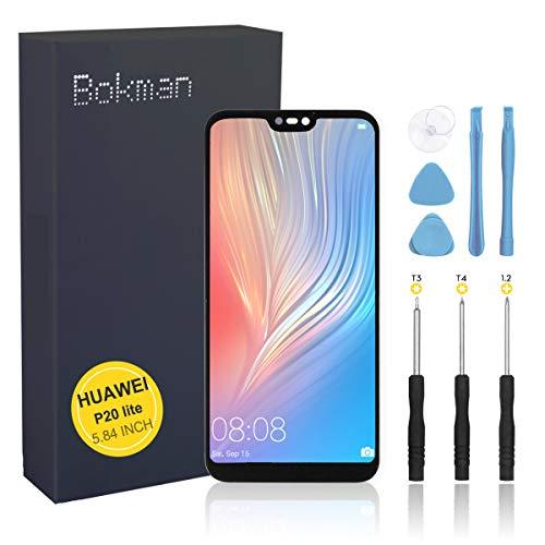 bokman Schermo Display LCD per Huawei P20 Lite Nero, Touch Screen Digitizer Parti di Ricambio con Strumenti di Riparazione