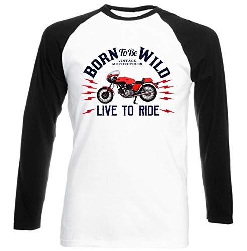Teesandengines Ducati 750 Sport Born to be Wilde Ride Camiseta de Mangas Negra largas T-Shirt Size Xlarge