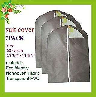 FidgetGear New Garment Suit Dress Storage Bag Clothes Cover 3 Pack Brown One Size