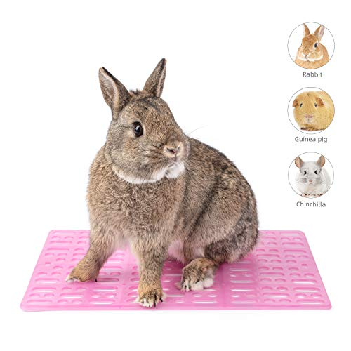 Niteangel 2 Pieces Rabbit Playpen Feet Mats for Cage, Comes with 4 Fixed Tabs (Pink)