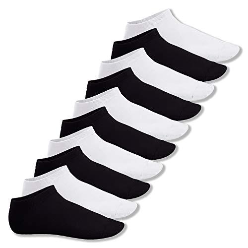 Footstar Herren & Damen Sneaker Socken (10 Paar), Kurze Sportsocken aus Baumwolle - Sneak It! - Schwarz/Weiss Mix (5x Schwarz + 5x Weiss) 39-42