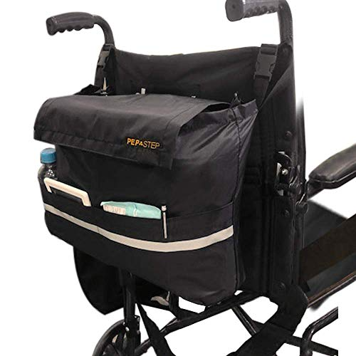 Wheelchair Bag for Back of Chair Universal Fit | Premium High Density Nylon Straps | Travel Messenger Backpack for Men Woman Handicap & Elderly | Easy Access Large Pockets | Wheelchair Accessories