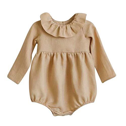 Bonita pelele para bebé niña o niño – Cuello Claudine o cuello Pierrot – Romper – Elegante – Mono – Mono – Marca francesa beige 6-12 Meses