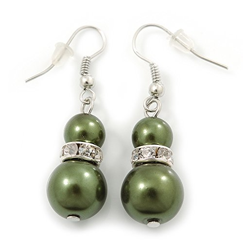 Dark Olive Simulated Glass Pearl, Crystal Drop Earrings In Rhodium Plating - 40mm Length