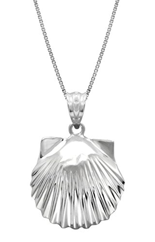 Honolulu Jewelry Company Sterling Silver High Polished Seashell Necklace Pendant with 18' Box Chain