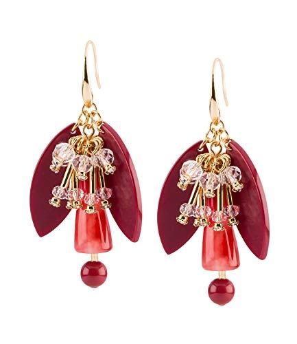 TOSH Statement-Ohrhänger in floralem Look mit Glasperlen und roten Acryl-Elementen (751-094)