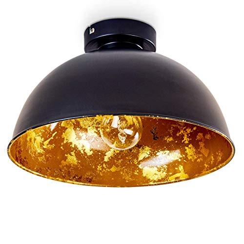 Plafondlamp Nome, moderne metalen plafondlamp in zwart/goud, E27 fitting, max. 60 Watt, spot in retro/vintage uitvoering met bladgouden optiek, LED-lampen geschikt
