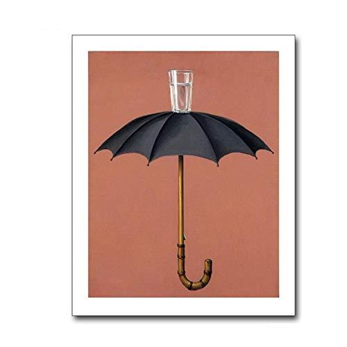 kldfig muurkunst van grappige paraplu canvas kunstdruk muur poster wandafbeeldingen voor badkamer huis decoratie met You-40 * 50 cm niet ingelijst