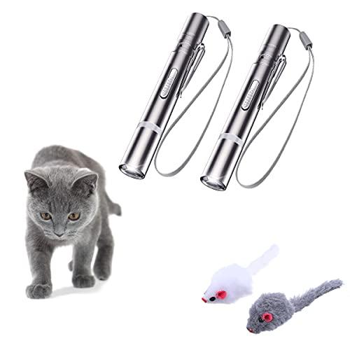 OUTERDO LED Pointer Haustier Interaktives Spielzeug (2er Set) für Katzen und Hunde,LED Pointer mit USB wiederaufladbar,verschenken Sie Zwei kleines Mausspielzeug