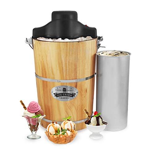 Elite Gourmet Old Fashioned 6 Quart Vintage Wood Bucket Electric Maker Machine Appalachian, Bonus Classic Die-Cast Hand Crank, Uses Rock Salt Churns Ice Cream in Minutes, Black