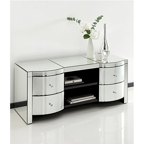 homesdirect365 Romano Crystal Mirrored TV Cabinet
